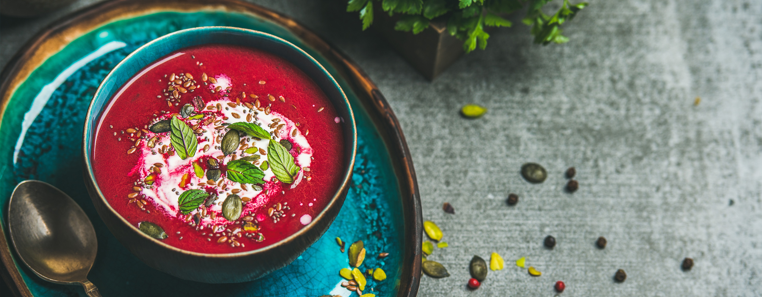 Beetroot and Pumpkin seed soup